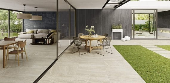 Clash tile in the finish Soul used in a dining area