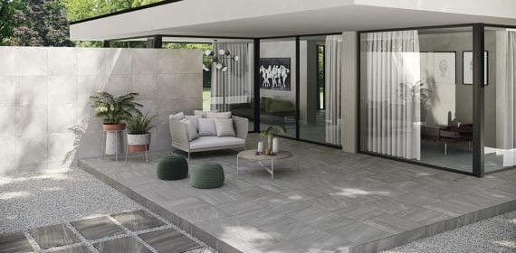 Clash tile in the finish Essence used in an outdoor dining area.