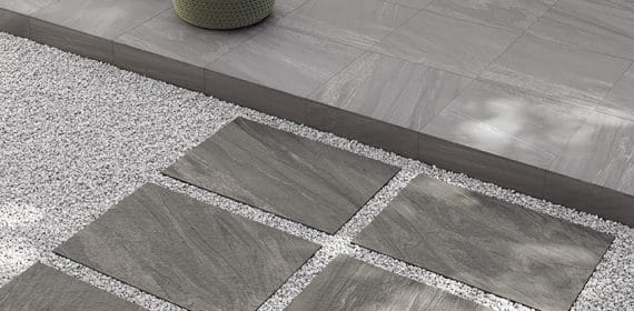 Clash tile in the finish Essence used for patio tiles