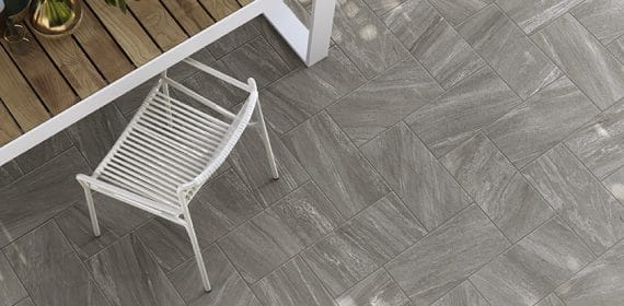 Clash tile in the finish Nature used in a dining area